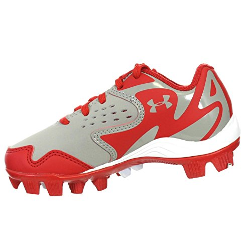 UNDER ARMOUR LEADOFF LOW RM JR GREY / RED YOUTH MOLDED BASEBALL CLEATS 10K - Image 1