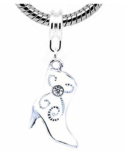 Boot Pandora - GemStorm Silver Plated Dangling White Cowboy Boot w/ Crystal For European Snake Chain Bracelets