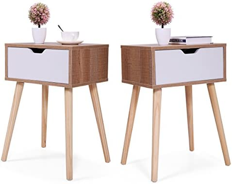 Tobbi Set of 2 Wooden Accent End Table Bedroom Nightstand Wood Legs w One Drawer 23.1 H Living Room Furniture