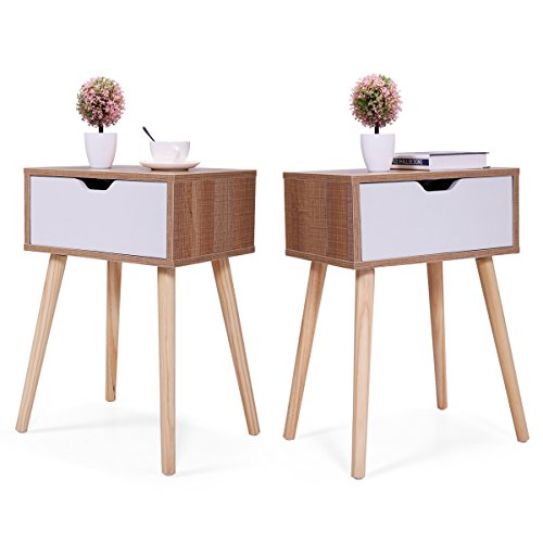 (JAXPETY Set of 2 Bedside Table Solid Wood Legs Nightstand with White Storage Drawer (Brown))