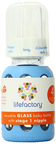 Lifefactory 4-Ounce BPA-Free Glass Baby Bottle with Protective Silicone Sleeve and Stage 1 Nipple, Sky Blue