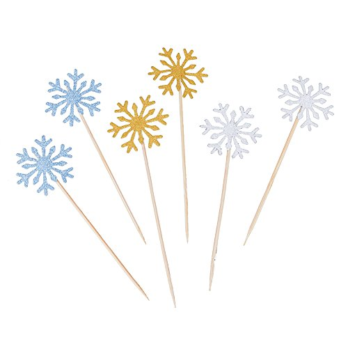 Snowflake Appetizer - Zamango Glitter Snowflake Cupcake Toppers Cake Picks Decoration for Birthday Wedding Baby Shower Party,30 pcs