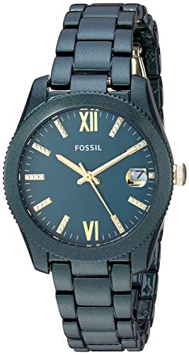 Fossil Women's Scarlette Quartz Stainless-Steel-Plated Strap, Green, 16 Casual Watch (Model: ES4408)