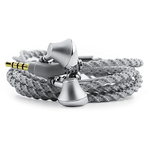 URIZONS in Ear Earphones, Headphones, Headsets with Microphone Remote for iPhone, iPad, Mac, Laptop Android Devices Fabric Braided Wistband Bracelet Style Color (Silver)