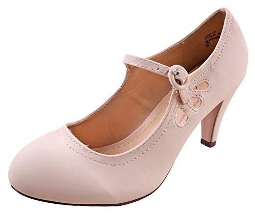 Chase & Chloe Kimmy-21 Women's Round Toe Pierced Mid Heel Mary Jane Style Dress Pumps (6.5 B(M) US, Nude Nubuck)