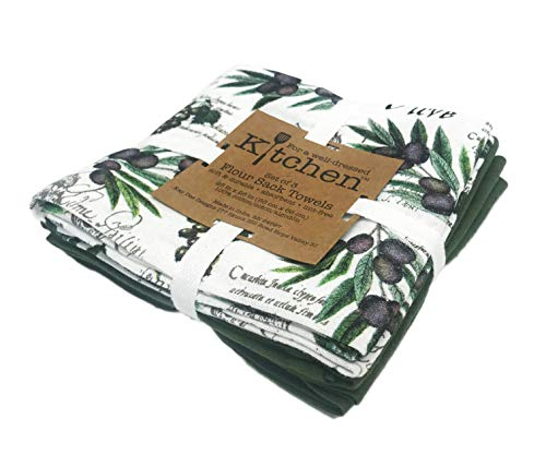 Grape Leaf Wine - Kitchen Wine Grapes & Olive Leaves Set of Three Flour Sack Cotton Wash Dish Cloths