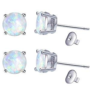 Platinum-plated Opal Stud Earrings for Women & Men's Ear Piercing 8mm (White)
