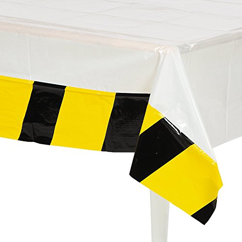 Fun Express Construction Zone Birthday Party Table Cover - 54 x 108 Inches