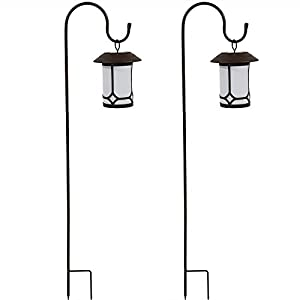Sunnydaze 35 Inch Traditional Outdoor Hanging Solar Lantern With Shepherd Hook (Set of Two)