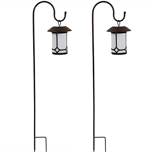 Sunnydaze Traditional Outdoor Hanging Solar Lantern With Shepherd Hook - Set of Two (Set Post Outdoor Lantern)