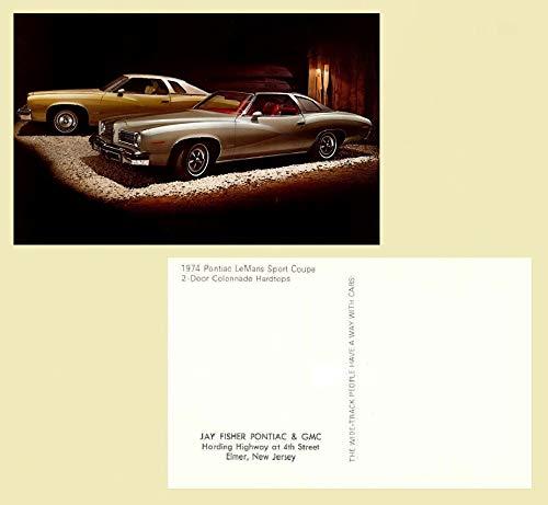 Pontiac Lemans 2 Door - 1974 PONTIAC LeMANS SPORT COUPE 2-Door COLONNADE Hardtops FACTORY ORIGINAL COLOR POSTCARD - USA - GREAT VINTAGE POST CARD !!
