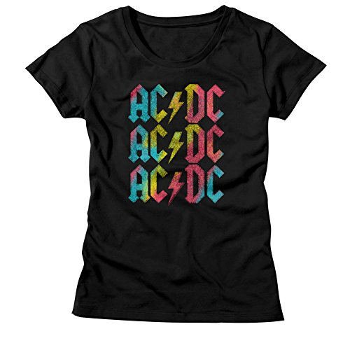(AC/DC Hard Rock Band Music Group Multicolor Logos Womens T-Shirt Tee)