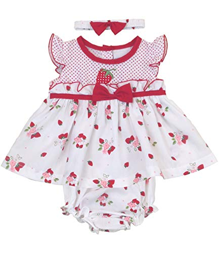 BabyPrem Baby Strawberries Dress 3 Piece Set Red 0-3 Months