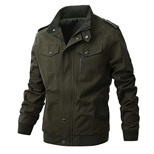 ZhaoDe Men's Casual Winter Cotton Military Zip Jackets Windproof Outdoor Coat Windbreaker