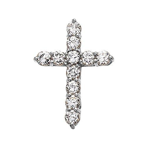 Elegant Sterling Silver 4 Carat Round Cubic Zirconia Cross Pendant (Medium)