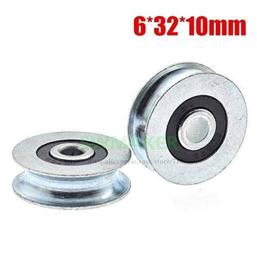 Fevas 10pce,63210mm Metal Groove Wheel, U Groove, grooved Iron Wheel, Galvanized Iron, Bearing Wheel, Roller, Wire Rope Guide Wheel