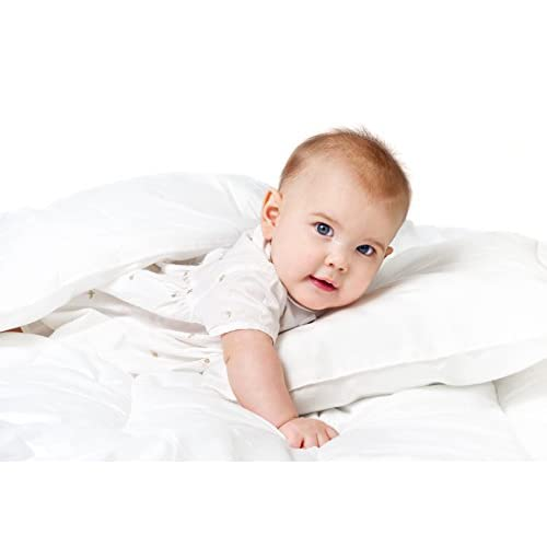 Discount L'cozee by DownTown Company, Alpine All Season White Down Alternative Quilted Comforter, 100% Egyptian Cotton Cover, Plush Fill, Boxed Stitched Design, Crib - Baby - Toddler Size free shipping