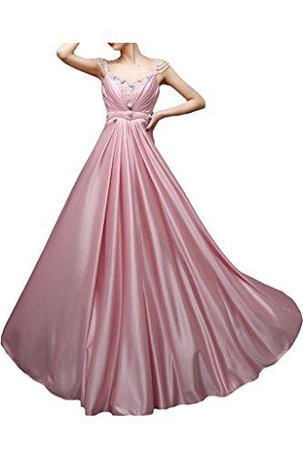 Vestito Sera Rosa Damigella D'onore Pavimento Abito Cinghie Elegante Dell'impero Avril Lunghezza Da qwx7OE