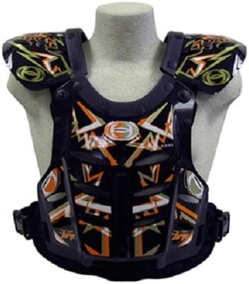 HRP Flak Jak kids chest protector Black Orange Gold kids 95-125 lbs motocrossMADE IN USA