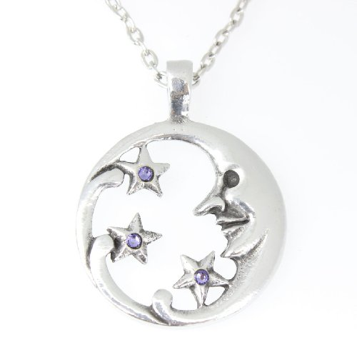 Trilogy Jewelry Pewter Moon Face with Stars Pendant on Chain w/ 3 Swarovski Crystals Lavender June Birthday ()