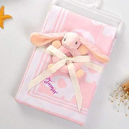 Personalized Baby Blanket Cotton Knit Blanket Elephant Custom Monogram Embroidered Gift Baby Shower Infant Warm Blankie Blanket Swaddle Pink Elephant Home Kitchen