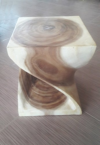 Thailand, Twist Stool Wooden Carved (Size Small) 10 x10 x 12 inches, With Livos Walnut Oil Finish. By Conserve Brand