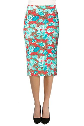 Women's Below the Knee Pencil Skirt for Office Wear - Made in USA Red / Blue Floral Medium