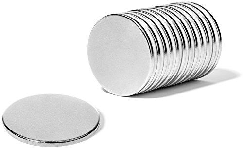 12 Super Strong Neodymium Rare Earth N45 Disc Magnets, 1.26