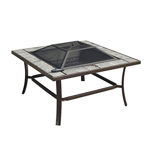 Outsunny Square Outdoor Backyard Patio Firepit Table, 36-Inch (Fire Pit Patio Outdoor Ideas)