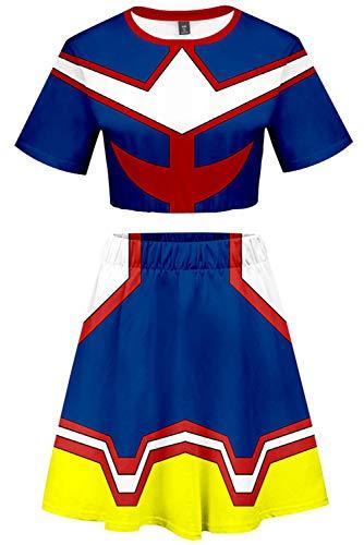 4d6d671947 My Hero Academia All Might Cosplay Costume Cheerleader Cheerleading Uniform  Crop Top Dress