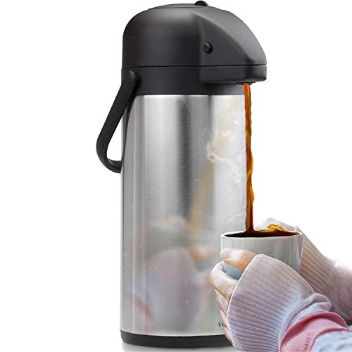 (Airpot Coffee Carafe - Thermal Beverage Dispenser (102 oz.) By Vondior. Insulated Stainless Steel Coffee Thermos Urn For Hot/Cold Water, Pump Action Airpot, Party Chocolate Drink)