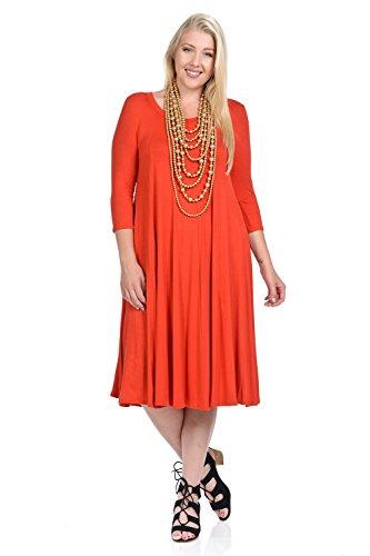 Rust Line (Pastel by Vivienne Women's A-Line Trapeze Midi Dress Plus Size XX-Large Rust)