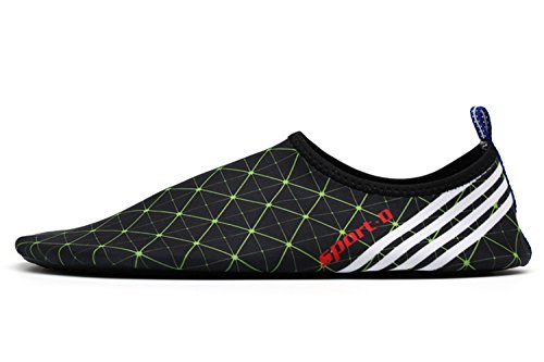 Vivay Herren Damen Barfuß Wasser Schuhe Quick-Dry Outdoor Aqua Socken für Beach Swim Surf Yoga Übung C. Schwarzes Grün