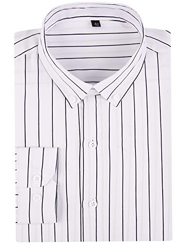 DOKKIA Men's Casual Long Sleeve Vertical Striped Slim Fit Dress Shirts (White Black, Large)