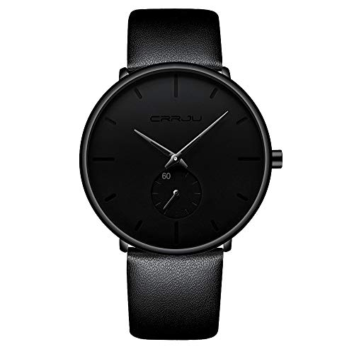 Men's Watch Unisex Minimalist Watch Waterproof Watch Military Watch Classic Gift Leather Strap with Black Pointer (Leather)