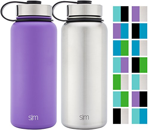 Simple Modern 32oz Summit Water Bottle 2 Pack - Two Vacuum Insulated Stainless Steel Wide Mouth Hydro Travel Mugs - Powder Coated Double-Walled Flask - Lilac Purple/Stainless Steel