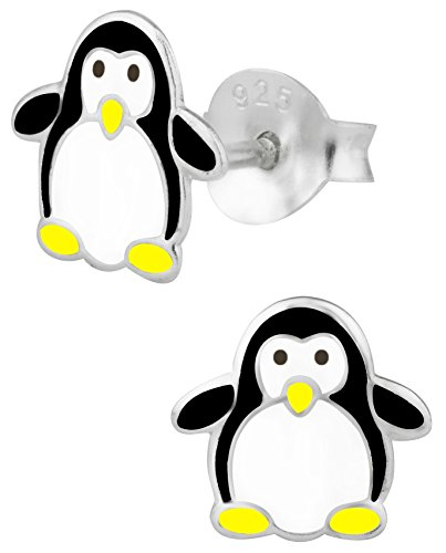 Hypoallergenic Sterling Silver Penguin Stud Earrings for Kids (Nickel Free)
