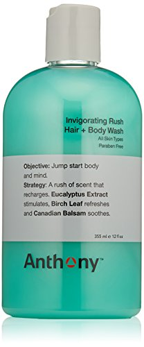 [Anthony Invigorating Rush Hair + Body Wash, 12 fl. oz.] (Anthony Logistics Shampoo)