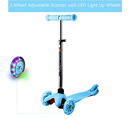 Kick Scooter 3 Wheel 4 Levels Adjustable Height with LED Light Up Wheels for Toddler Girls Boys 3-12 Years(US STOCK) (Blue) Scooter W/ 3 Wheels