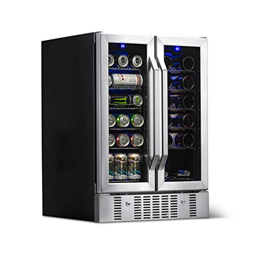 NewAir AWB-360DB Dual Zone Wine and Beverage Cooler, Built-In Stainless Steel Refrigerator for Soda Beer or Wine, Holds 18 Bottles and 60 Cans ()