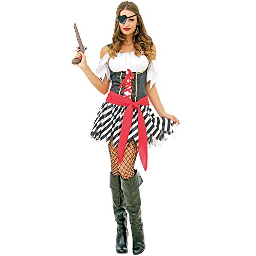 (Perilous Pirate Women's Halloween Costume Sexy Caribbean Buccaneer Captain Red M)