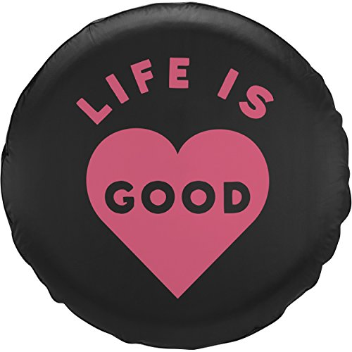 Life is Good Lig Heart Tire Cover, Night Black, 31