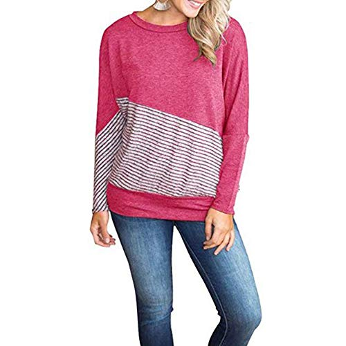 LEXUPA Fashion Women O-Neck Striped Print Color Block Top Patchwork T-shirt Blouse Tee Casual loose t-shirt(WineRed,Medium)