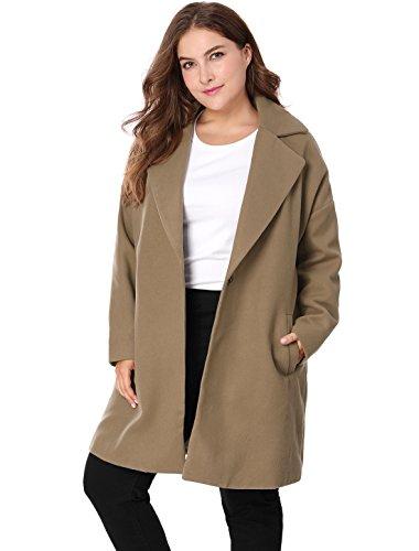 Agnes Orinda Women's Plus Size Drop Shoulder Notched Lapel Coat 3X Brown (Coat Collar Notched Fur)