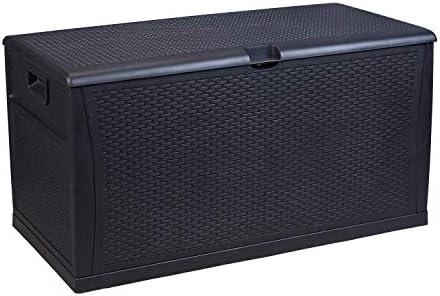 Patio Deck Box Waterproof Plastic Large Outdoor Storage Box for Garden,Backyard,Pool,Lawn 120 -Gallons Black