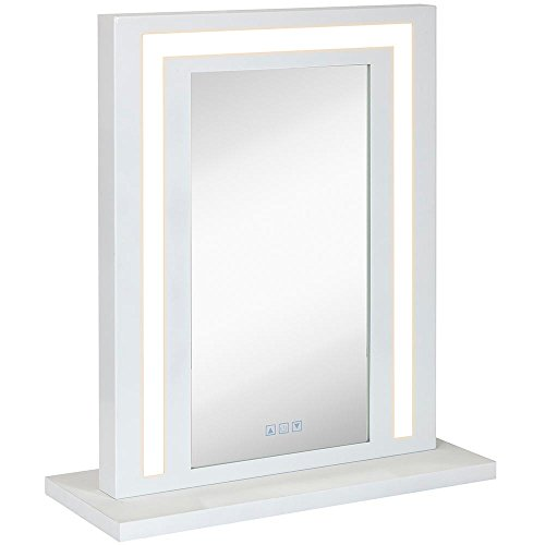 Modern White Hollywood Vanity Mirror with Lights - Makeup Dressing Table or Wall Mounted Mirror with Digital LED Lighting with Dimmer and Outlet by Hamilton Hills