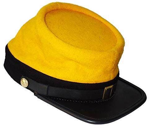 US Civil War Cavalry Leather Peak Officer Kepi - Hats War Civil Cavalry