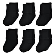 Epeius Unisex-Baby Newborn Seamless Turn Cuff Socks Black Booties 6 Pair Pack,0-6 Months