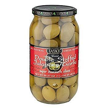 - Tassos Double Stuffed Jalapeno-garlic Super Mammoth Greek Olives, Valuue 2 PackK ( 35.27 Oz Each )