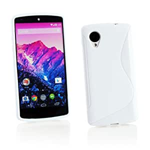 Kit Me Out ES ® Funda de gel TPU + Cargador para coche + Protector de pantalla con gamuza de microfibra para LG Google Nexus 5 - Blanco Forma de línea S